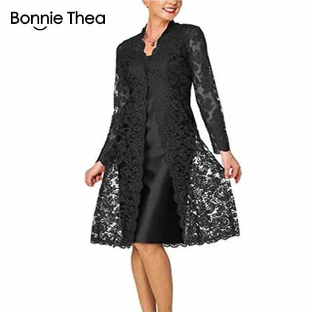 Women's Long Sleeve Two-Piece Lace Dress, Black / XL, Black, XL, [option3] - anythinganyware