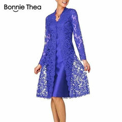 Women's Long Sleeve Two-Piece Lace Dress, Blue / XXL, Blue, XXL, [option3] - anythinganyware