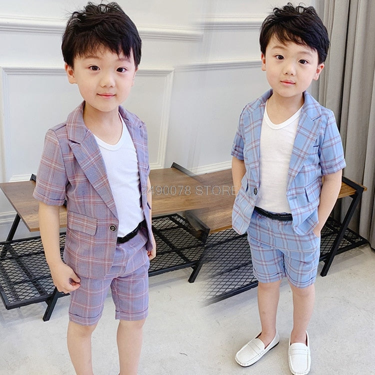 Boys Summer Formal Suit Blazer+Shorts 2PCS, [variant_title], [option1], [option2], [option3] - anythinganyware