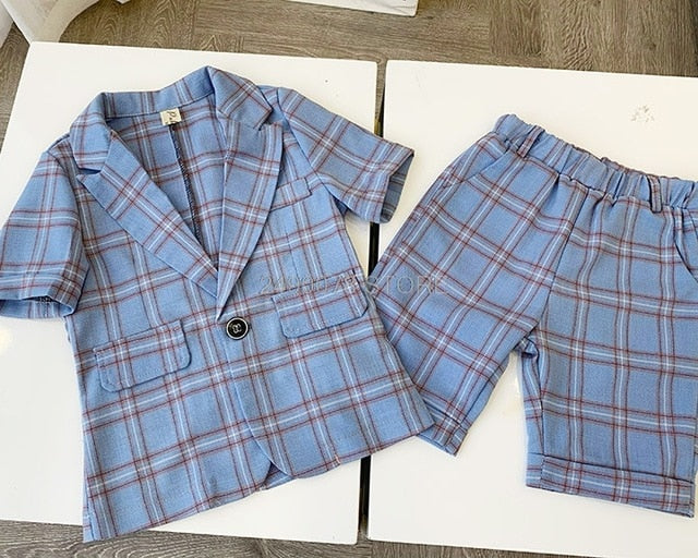 Boys Summer Formal Suit Blazer+Shorts 2PCS, jaket shorts 2pcs0 / 4T1, jaket shorts 2pcs0, 4T1, [option3] - anythinganyware