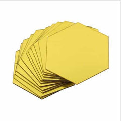 Brand New 3D Mirror Stickers Removable Hexagon, Gold / Medium, Gold, Medium, [option3] - anythinganyware