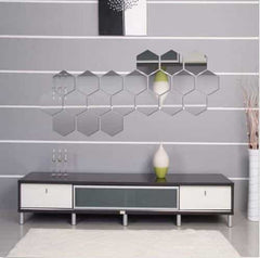 Brand New 3D Mirror Stickers Removable Hexagon, Silver / Medium, Silver, Medium, [option3] - anythinganyware