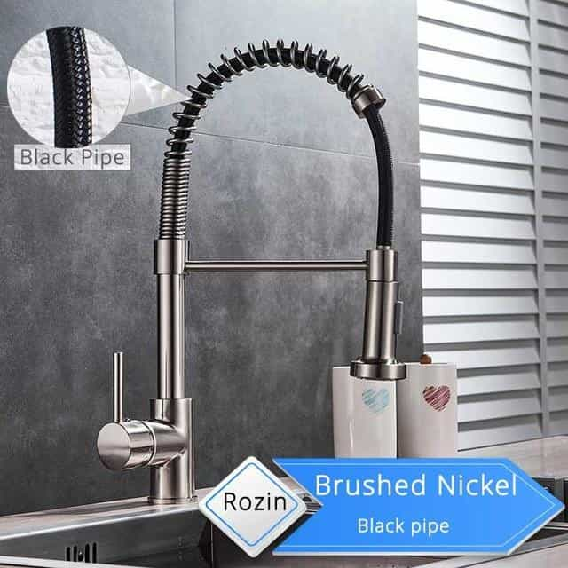 Bronze Black Kitchen Faucet Deck Mounted Mixer Tap, Brushed Black Pipe / United States, Brushed Black Pipe, United States, [option3] - anythinganyware