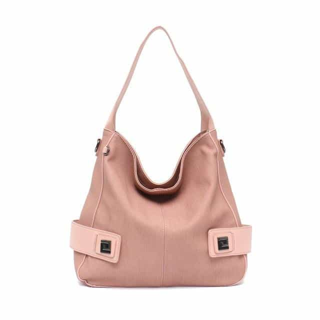 Casual Large Women High Quality Vegan Leather Handbags, Pink, Pink, [option2], [option3] - anythinganyware