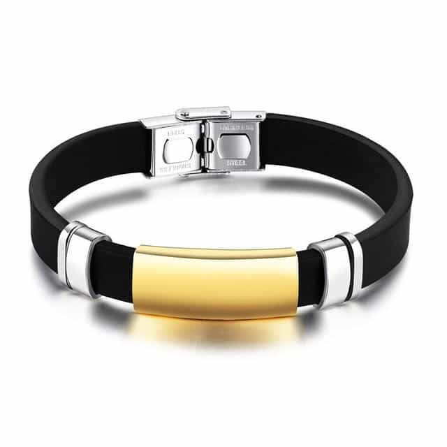 Casual Sport Men's Silicone Bangles Bracelets, gold, gold, [option2], [option3] - anythinganyware