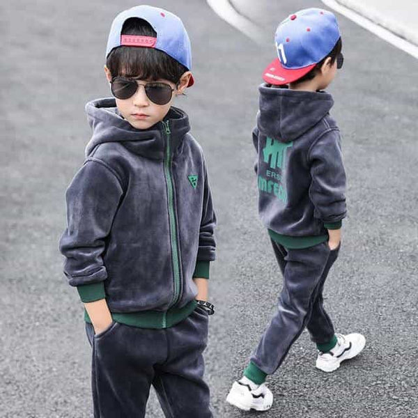 Children Boys Autumn Winter Sports Suit, GRAY / 6T, GRAY, 6T, [option3] - anythinganyware