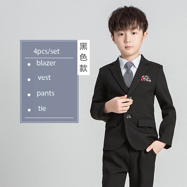 Children's Formal Suit Sets Kids Tuxedo, black 4pcs / 4T, black 4pcs, 4T, [option3] - anythinganyware