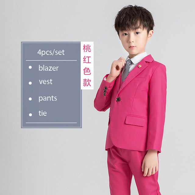 Children's Suits Sets  Flower Boys Wedding Dress, rose 4pcs / 4T, rose 4pcs, 4T, [option3] - anythinganyware