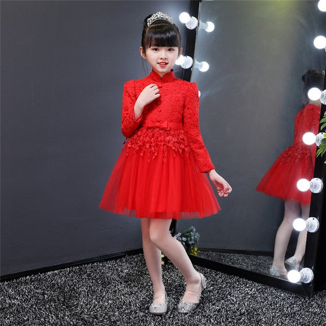 White Red Performance Show Evening Children Dress, Red-B / 6, Red-B, 6, [option3] - anythinganyware