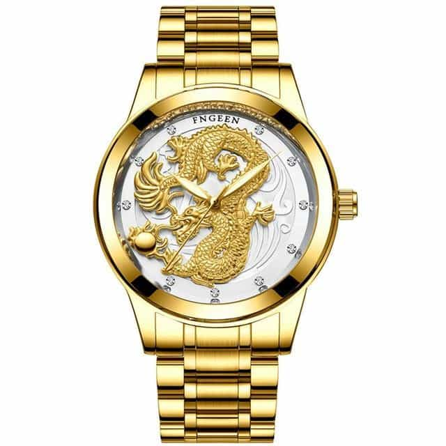Creative Dragon Luxury Fashion Steel Strap Watch Men, gold white, gold white, [option2], [option3] - anythinganyware