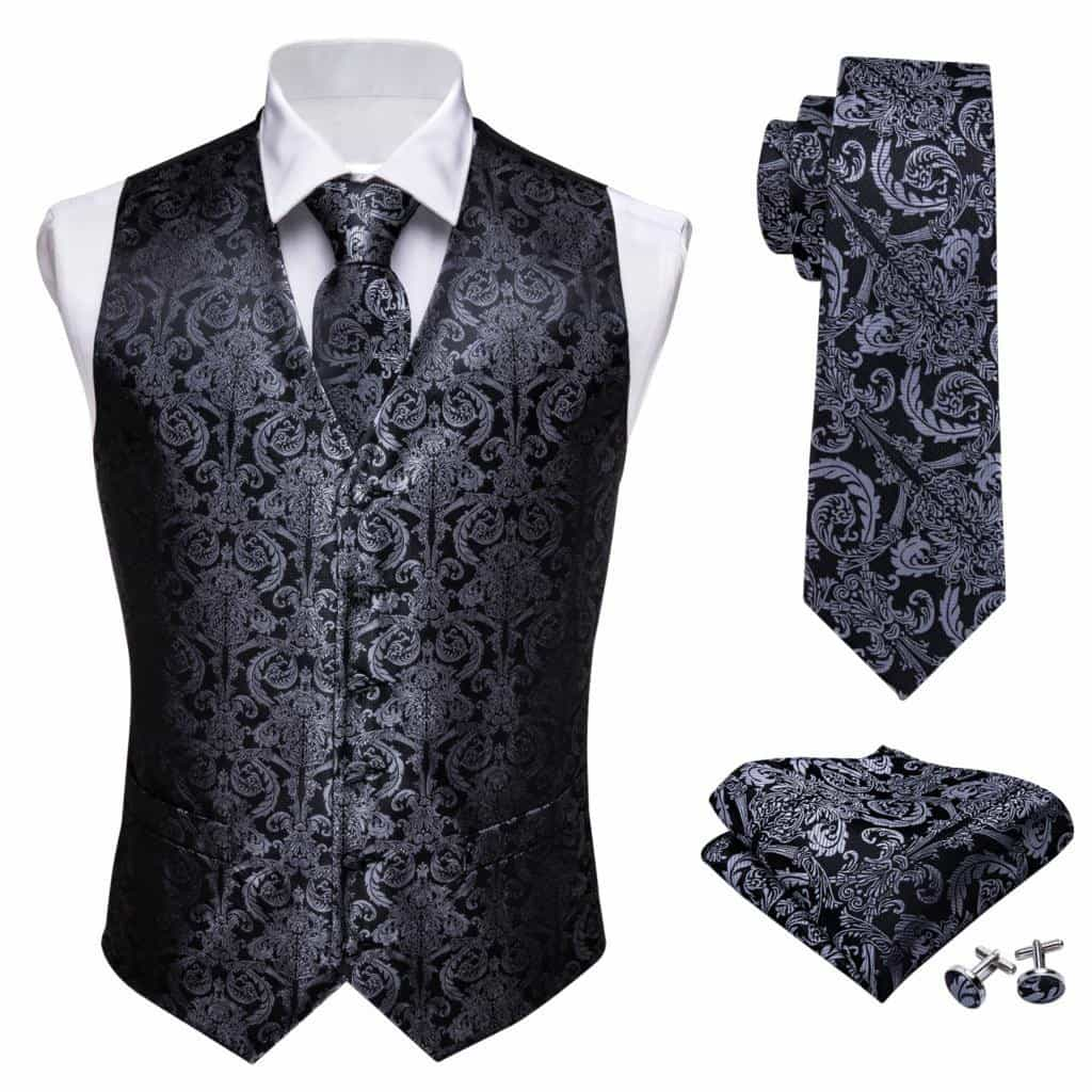 Designer Mens Classic Black Paisley Jacquard Folral Silk Waistcoat Vests, [variant_title], [option1], [option2], [option3] - anythinganyware