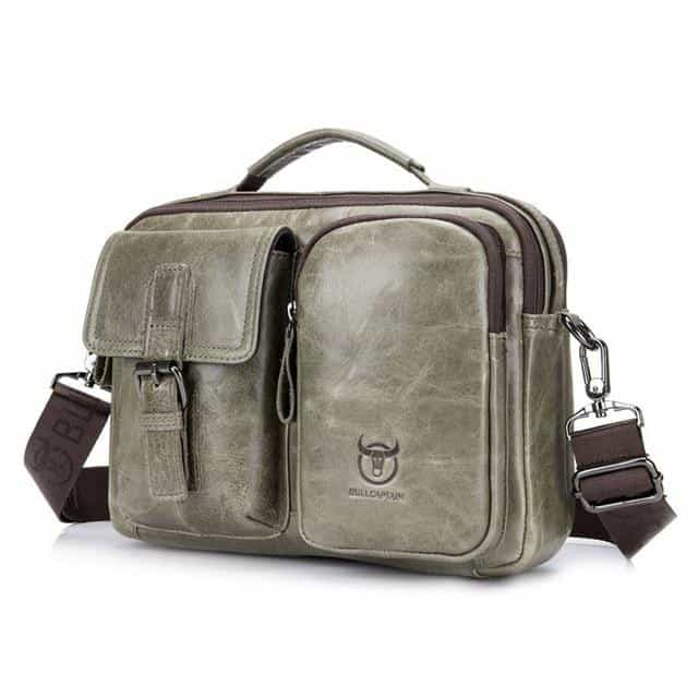 Briefcase Genuine Leather Messenger Laptop Bag, Dark Khaki / China, Dark Khaki, China, [option3] - anythinganyware