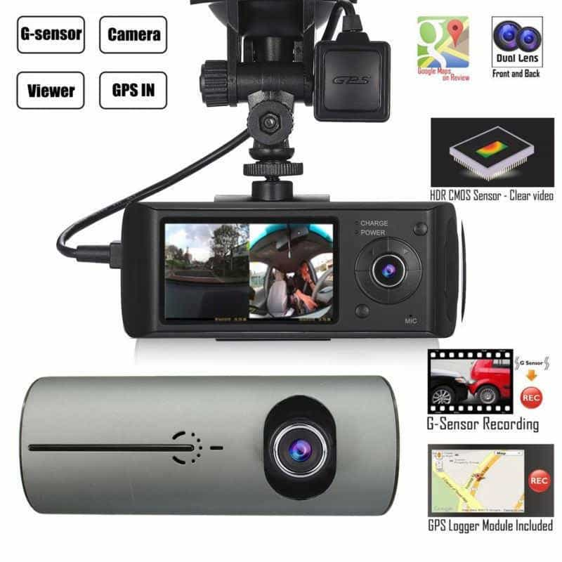 Dual Lens GPS Camera HD Car DVR Dash Cam, [variant_title], [option1], [option2], [option3] - anythinganyware