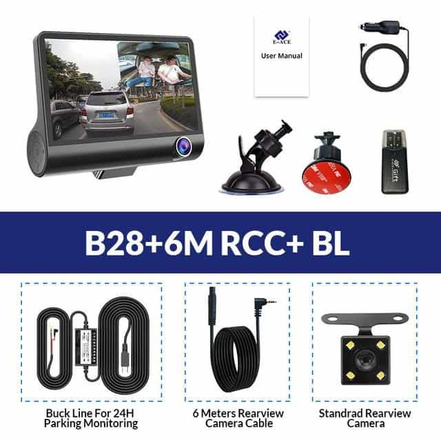Car Dvr 3 Camera Lens  Dash Cam, B28-6M RCC-BL / China / No TF Card, B28-6M RCC-BL, China, No TF Card - anythinganyware