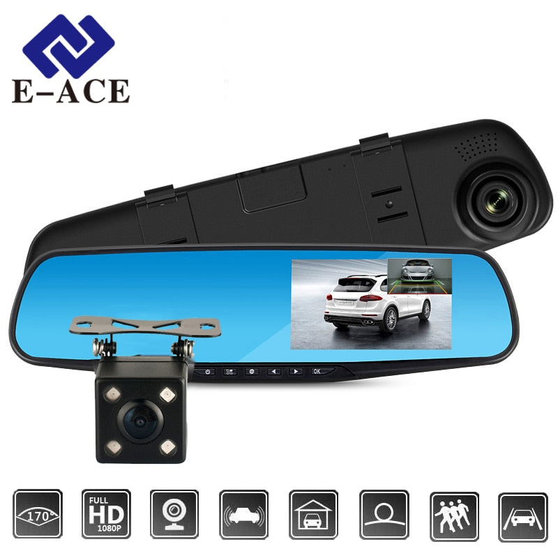 Car Dvr Camera Auto 4.3 Inch Rearview Mirror Digital Video Recorder Dual Lens Registratory Camcorder, [variant_title], [option1], [option2], [option3] - anythinganyware