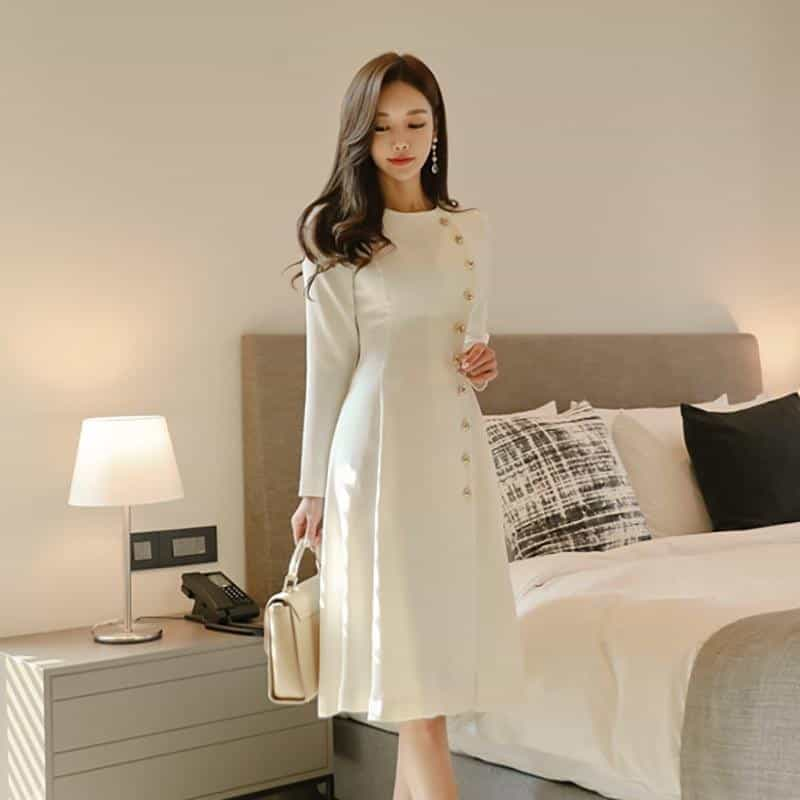 Elegant Dress Women Casual Long Sleeve Dress, [variant_title], [option1], [option2], [option3] - anythinganyware