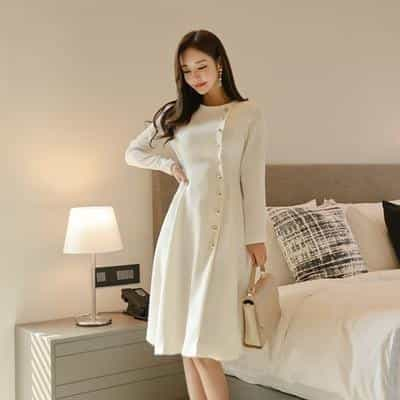 Elegant Dress Women Casual Long Sleeve Dress, White / S, White, S, [option3] - anythinganyware