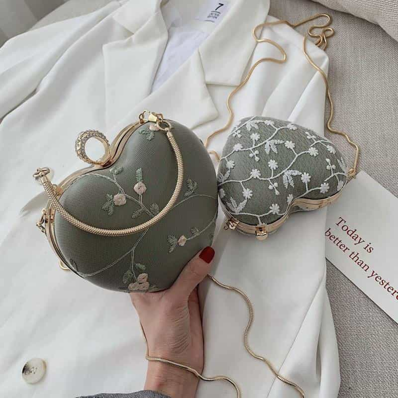 Embroidery Flowers Design Women Heart Clutch Evening Bags, [variant_title], [option1], [option2], [option3] - anythinganyware