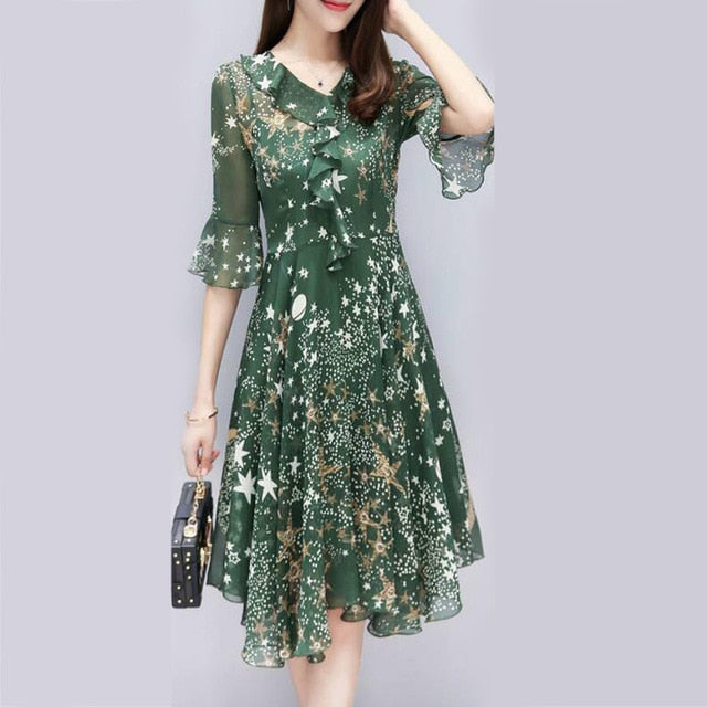 Floral Dress Ruffle Long Evening Ladies Bell Sleeve, Green / M, Green, M, [option3] - anythinganyware