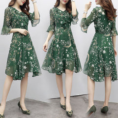 Floral Dress Ruffle Long Evening Ladies Bell Sleeve, [variant_title], [option1], [option2], [option3] - anythinganyware