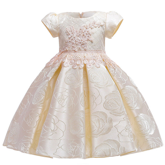 Flower Girls Dress For Girls Elegant Princess Dress, Champagne74 / 3T75, Champagne74, 3T75, [option3] - anythinganyware