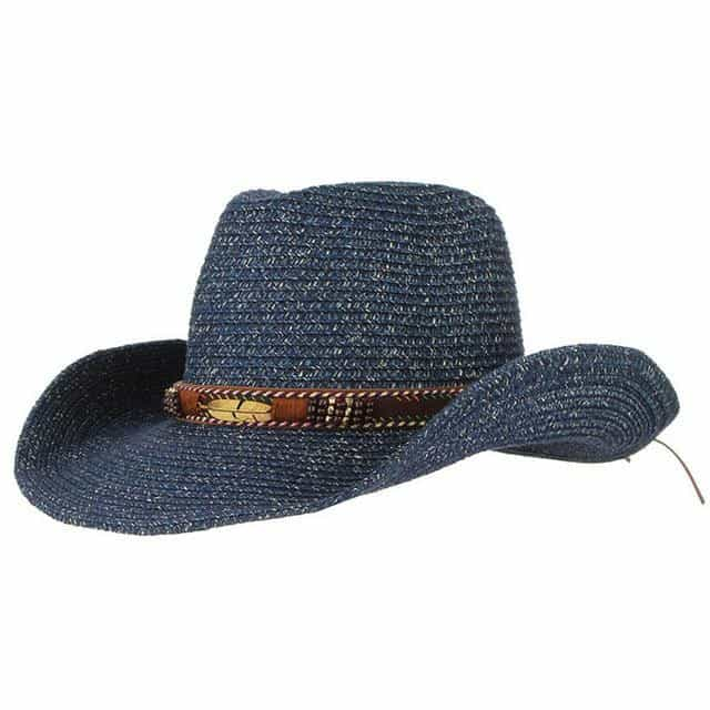 Western Cowboy Hat Sun Hat For Men, Navyblue / 56-58cm(adjustable), Navyblue, 56-58cm(adjustable), [option3] - anythinganyware
