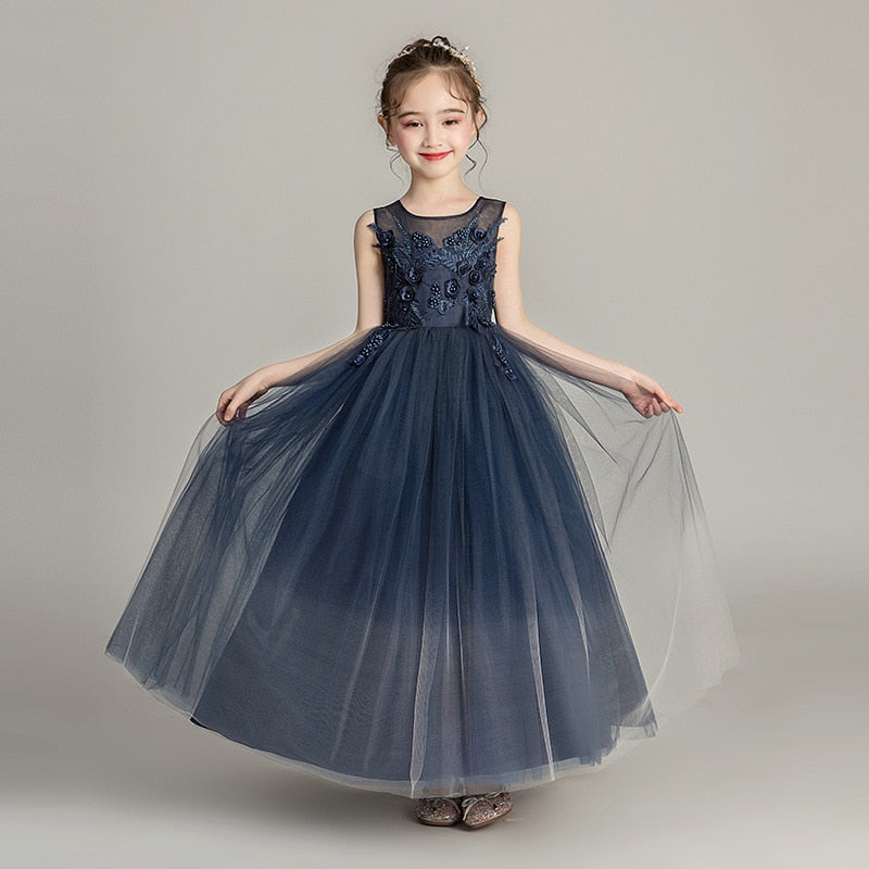 Girls Dress Europe and America Dark Blue Princess Dress, [variant_title], [option1], [option2], [option3] - anythinganyware