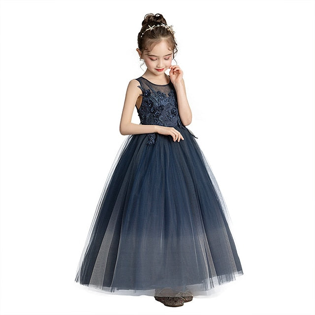 Girls Dress Europe and America Dark Blue Princess Dress, As shown / 5, As shown, 5, [option3] - anythinganyware