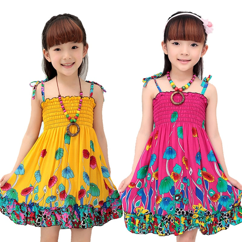 Girls Dress Summer Fashion Sling Floral Kids Dress, [variant_title], [option1], [option2], [option3] - anythinganyware