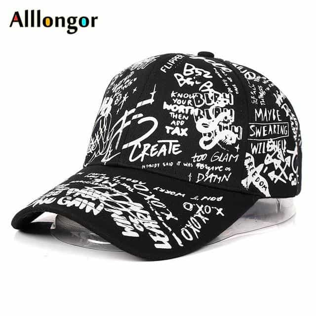 Graffiti Baseball Cap Women Men, Black / 可调节, Black, 可调节, [option3] - anythinganyware