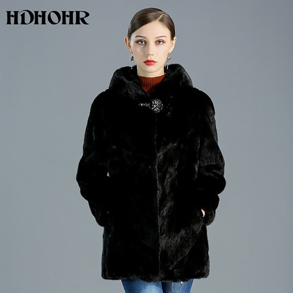 High Quality Real Mink Fur Coat Women Natural Jackets Winter, Black / XXL Bust 115cm, Black, XXL Bust 115cm, [option3] - anythinganyware