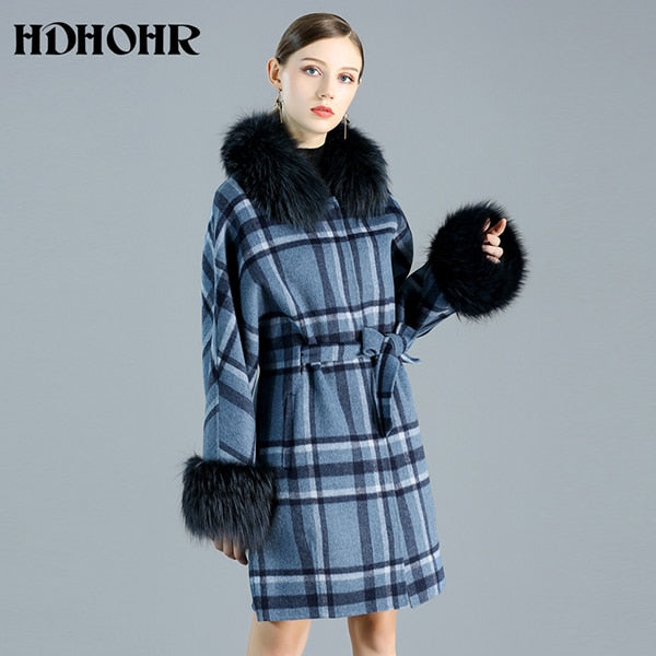 Cashmere Coat Women Winter Natural Real Fox Fur Jacket, Sky Blue / M, Sky Blue, M, [option3] - anythinganyware