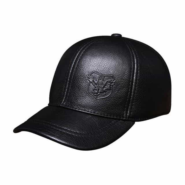 genuine leather baseball cap, black, black, [option2], [option3] - anythinganyware
