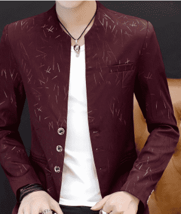 Men 's casual collar collar suit youth handsome trend Slim print suit, Burgundy / XXXL, Burgundy, XXXL, [option3] - anythinganyware