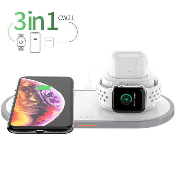 3 in 1 Qi Wireless Charger Pad for iPhone, China / White / 3 in 1, China, White, 3 in 1 - anythinganyware