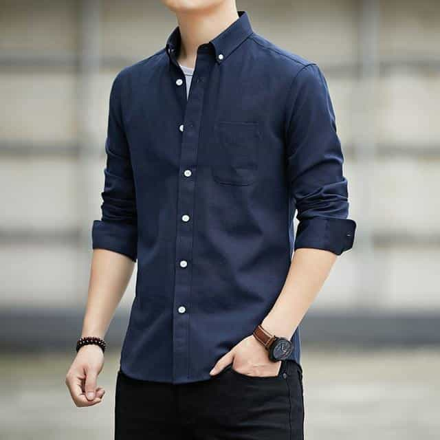 High-quality long-sleeved shirts for men's, Navy Blue / M, Navy Blue, M, [option3] - anythinganyware