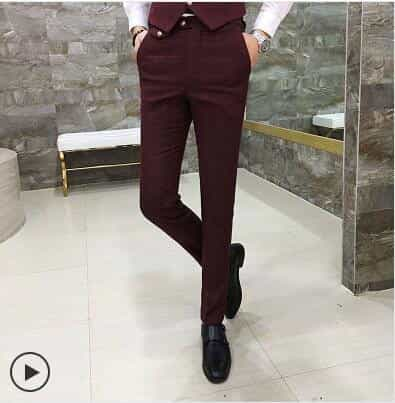 Slim Fit Men Suit Jacket & Vest & Pant, a red pants / XXXL, a red pants, XXXL, [option3] - anythinganyware