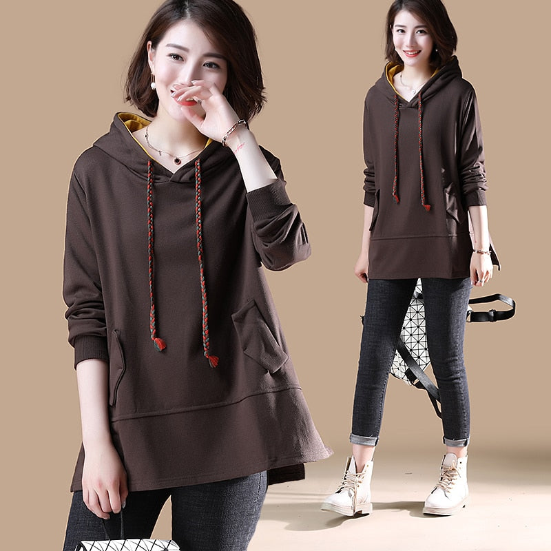 Women's Hooded Loose Casual Tops Long, [variant_title], [option1], [option2], [option3] - anythinganyware