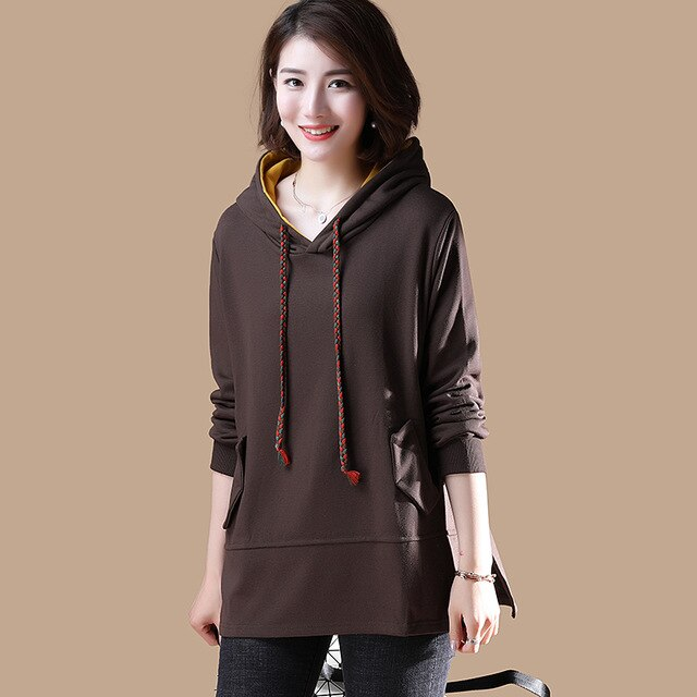 Women's Hooded Loose Casual Tops Long, brown / XXL, brown, XXL, [option3] - anythinganyware