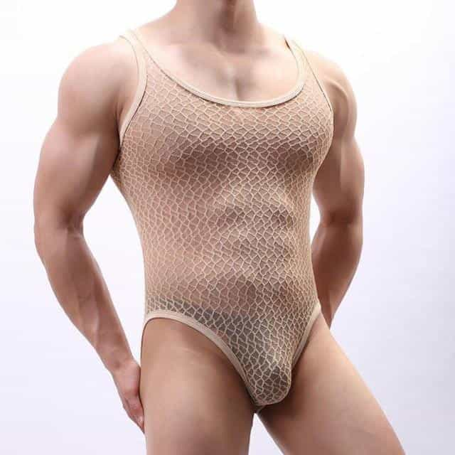 cinta modeladora masculina lace transparent bodysuit, Khaki / M, Khaki, M, [option3] - anythinganyware
