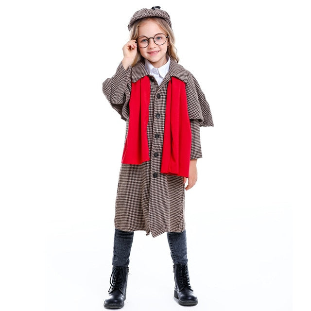 Kid Sherlock Holmes Costume Detective Children, As Show / XL, As Show, XL, [option3] - anythinganyware
