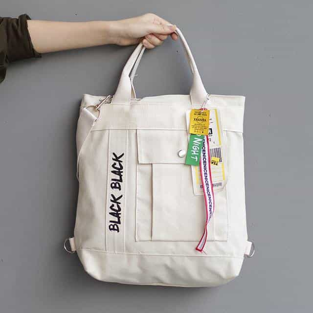 Korean Style Casual Canvas Shoulder Bag, Creamy White, Creamy White, [option2], [option3] - anythinganyware