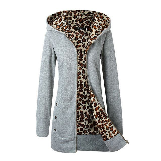 Leopard Hoodies Woman Winter  Sweatshirt Women Coat, Gray / XL / China, Gray, XL, China - anythinganyware