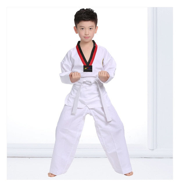 Long Sleeve Kids Taekwondo Uniform Boys, White / 120cm(110cm-120cm), White, 120cm(110cm-120cm), [option3] - anythinganyware