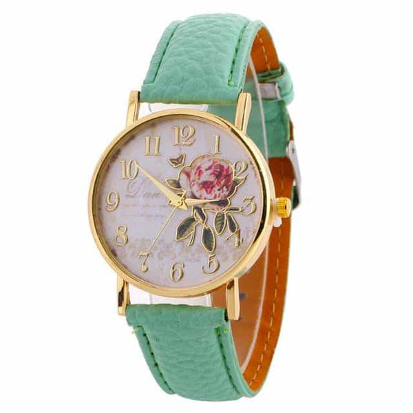 New Arrival Rose Pattern Watches, 9193 green, 9193 green, [option2], [option3] - anythinganyware