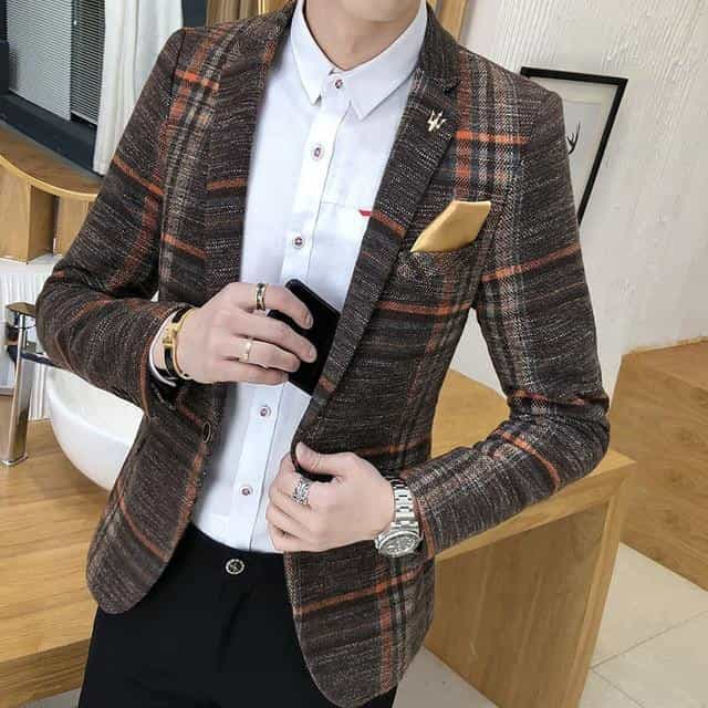 Men Blazer Slim Fit Wedding Casual Blazer Jacket Suit, Khaki / L, Khaki, L, [option3] - anythinganyware