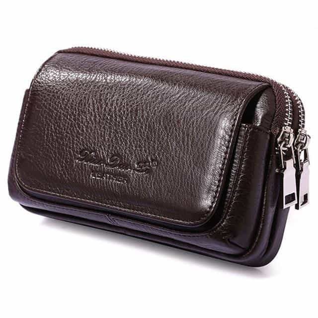 Men Leather Fanny Waist Bag, Coffee L 2 / China, Coffee L 2, China, [option3] - anythinganyware