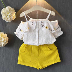 Girls Sets New Spring Summer Floral Children, YellowAX1060 / 7, YellowAX1060, 7, [option3] - anythinganyware