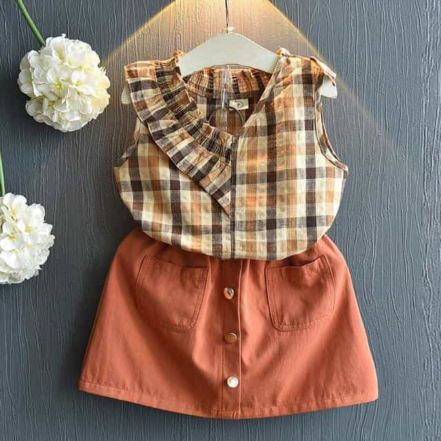Girls Sets New Spring Summer Floral Children, ay011 brown / 7, ay011 brown, 7, [option3] - anythinganyware