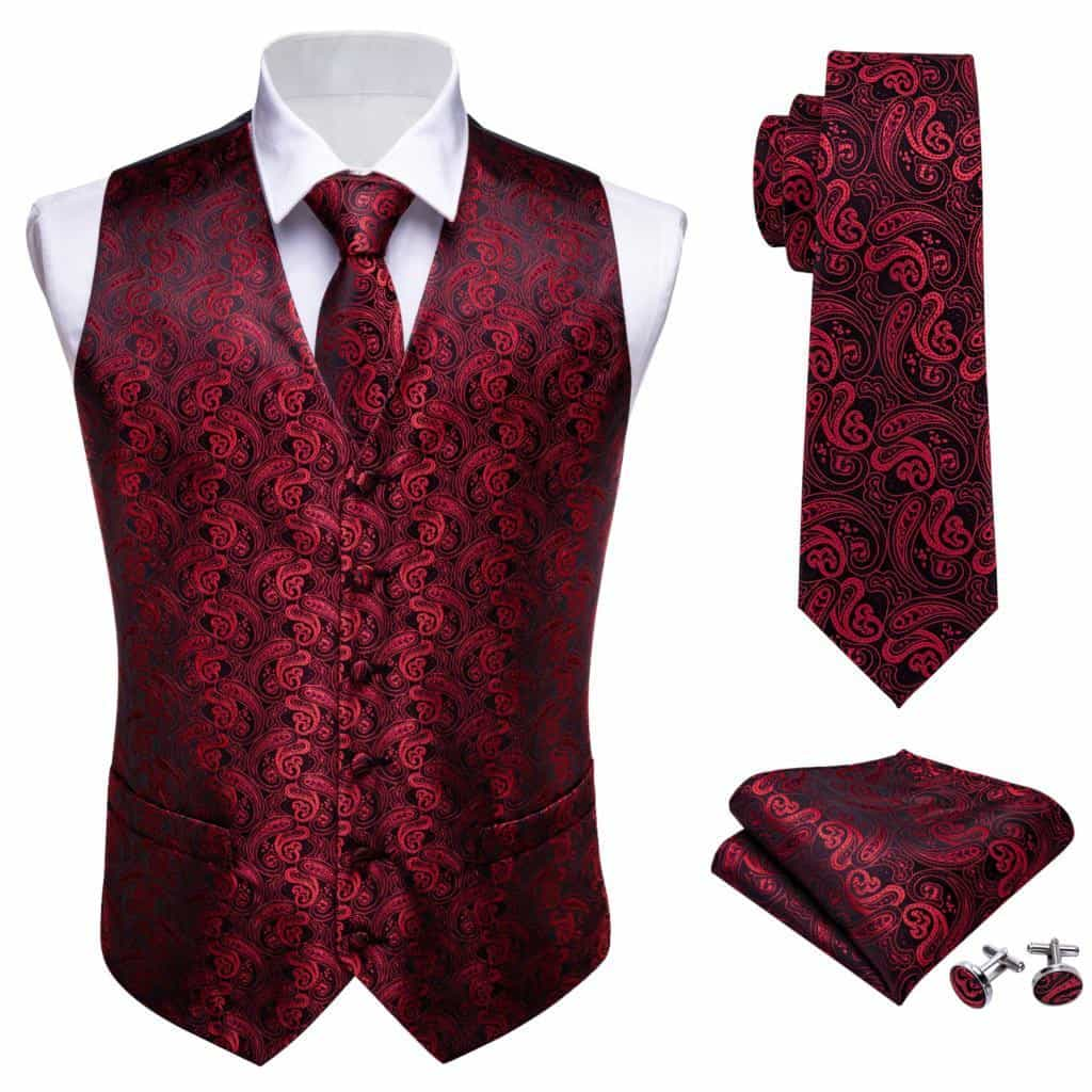 Mens Tie Classic Red Paisley Jacquard Silk Waistcoat Vests, [variant_title], [option1], [option2], [option3] - anythinganyware